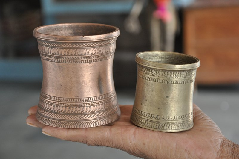 2 pc 1930's Old Brass & Copper Engraved Handcrafted Holy Water Pot , Rich  Patina - 30539