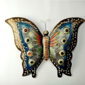 W- Butterfly Blue Metal Wall Decor