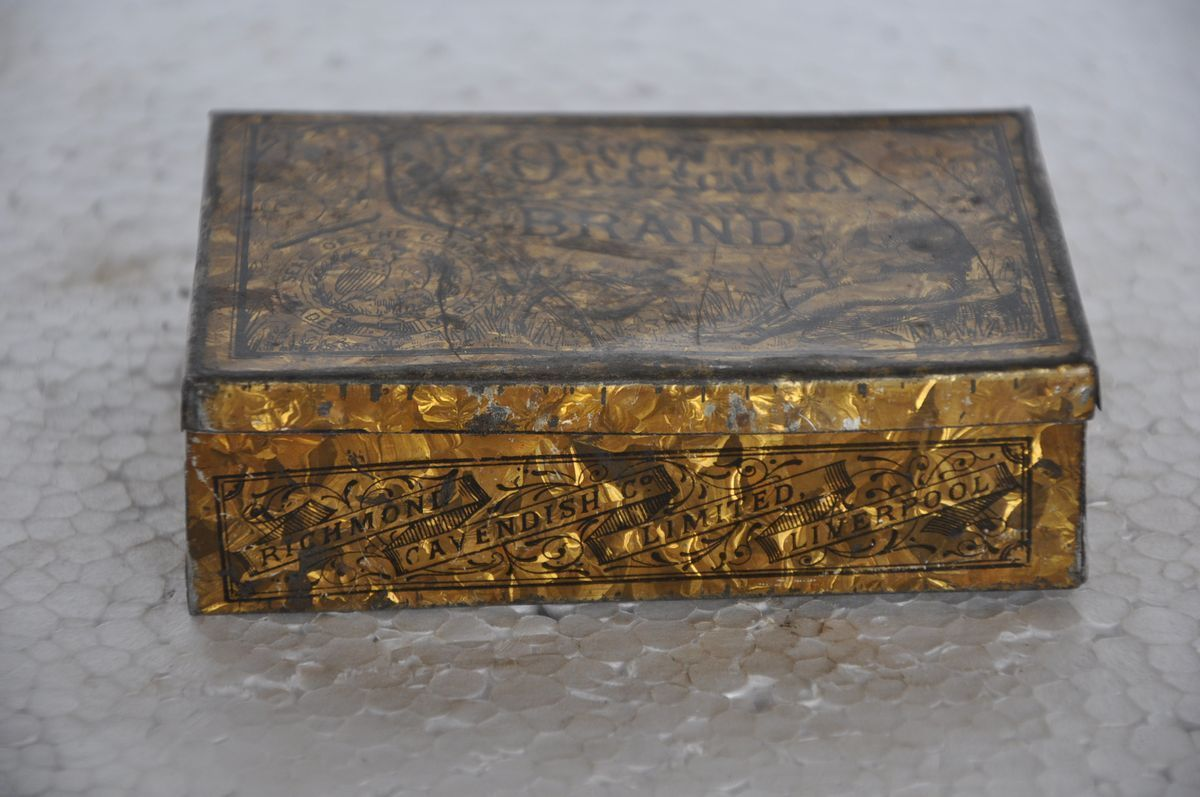 1959 Vintage Tin box yellow and gold hand-painted and signed
