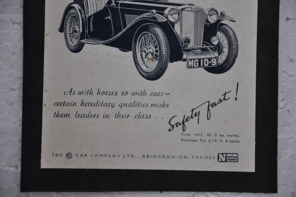 Vintage MG Car Company Ad Litho Paper Sign Board - 19033 - Singhal ...