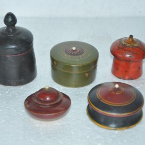 5 Pc Old Wooden Small Different Powder/ Pill Boxes – 38736
