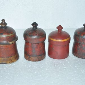 4 Pc Old Wooden Handcrafted Red Handpainted Solid Powder Boxes – 38737