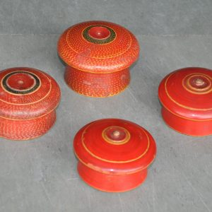 4 Pc Old Wooden Handcrafted Lacquer Red Painted Powder Boxes – 41034