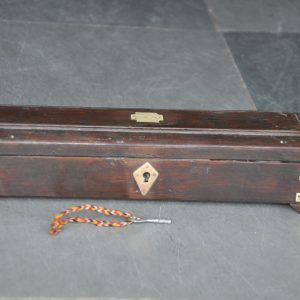 Old Wooden 3 Compartment Handcrafted Pen/ Pencil Box With Brass Fitted Work – 40961